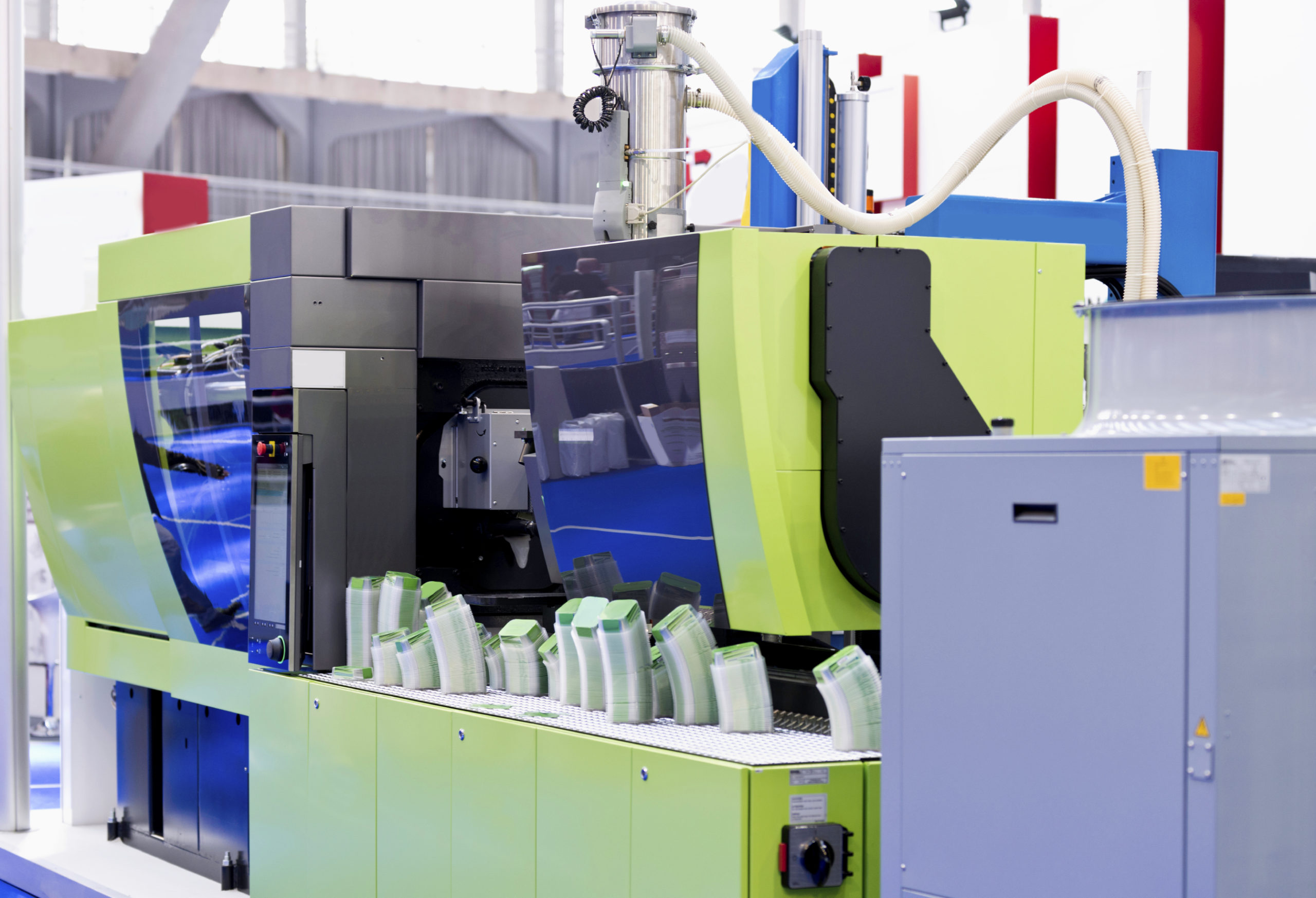 Closeup view of plastic injection moulding machine